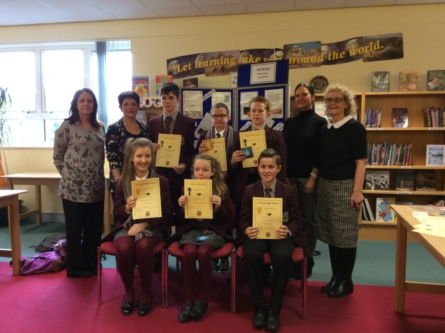 Winners with their English teachers, Mrs Mone, Mrs McCormick, Miss O'Rourke and Head of English Mrs Campbell