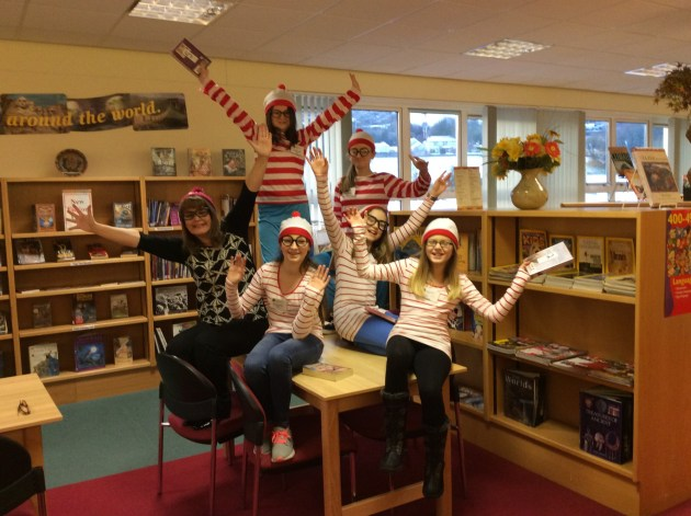 Mrs Morgan, Librarian with the Where's Wally Cast!