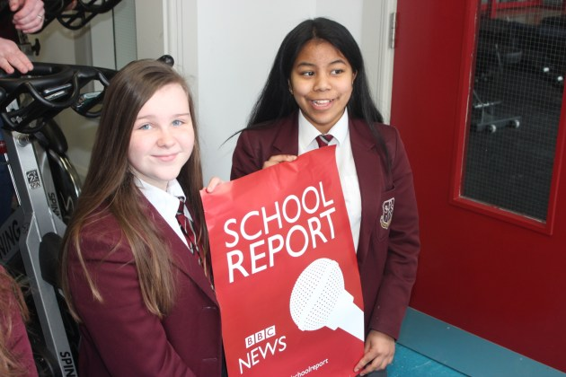 Chloe and Estelle BBC School Reporters on News Day