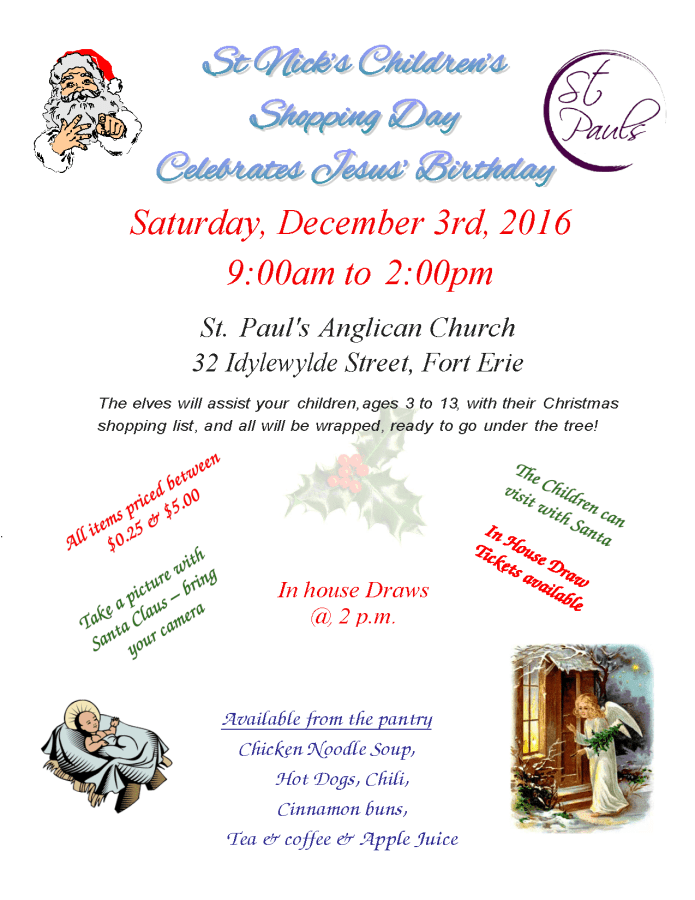 Annual St. Nick's Shopping Day Saturday December 3 2016 from 9am to 2 pm