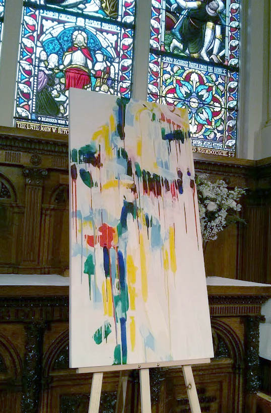 "The third painting to be embedded in our liturgy at St. Paul's is titled "" all saints"" and is the fourth of a newly emerged theme of paintings in Ian's studio work at Parish House."