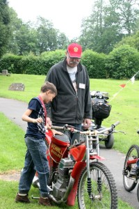 Man and Boy with motorbike