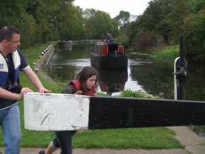 Photo: Chris and Emma opening the lock for the boat