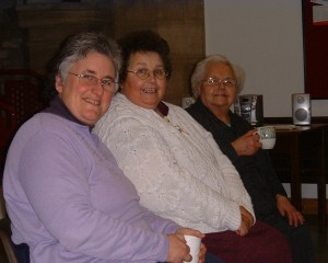 Photo: Roz, Linda and Mavis enjoy a cuppa