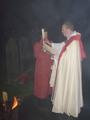 Photo: Blessing the Easter Candle