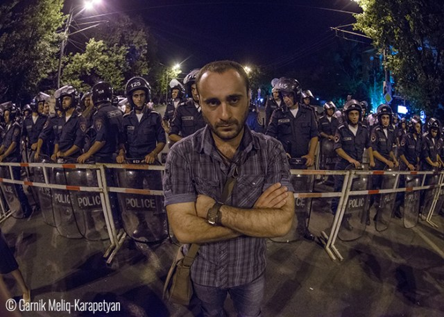 Garnik Meliq-Karapetyan Protests in the center of Yerevan, Armenia.