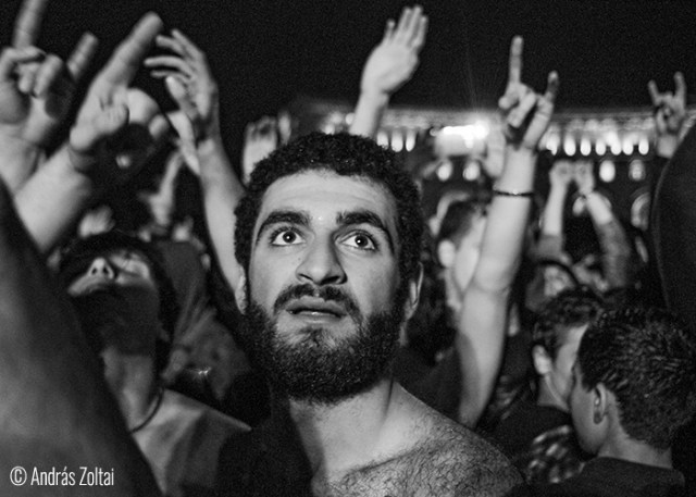 © András Zoltai (Budapest, Hungary). Typical Armenian youngster having fun on the free concert of SOAD, at Republic Square, Yerevan.