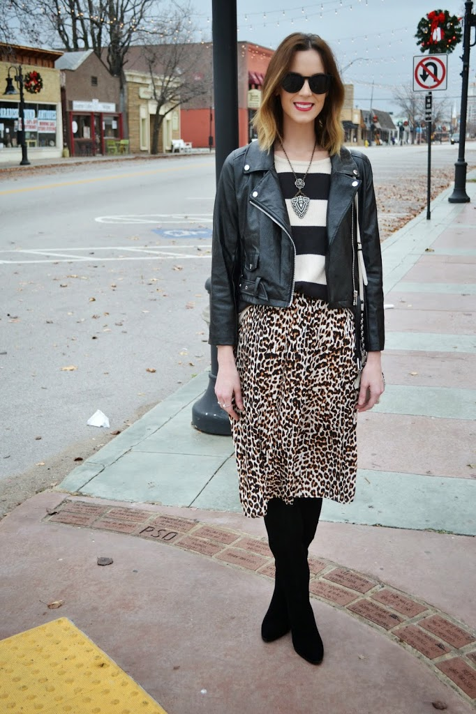 Leopard-2Bmidi-2Bskirt-2C-2Bleather-2Bjacket-2C-2Bstriped-2Bsweater-2C-2Bover-2Bthe-2Bknee-2Bboots