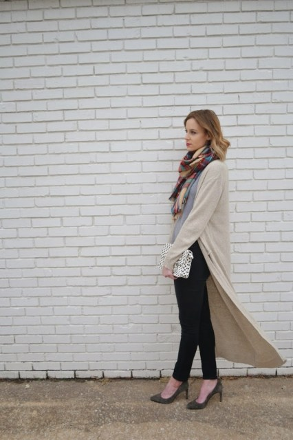 maxi cardigan, black jeans, grey tank top, grey suede heels, plaid scarf
