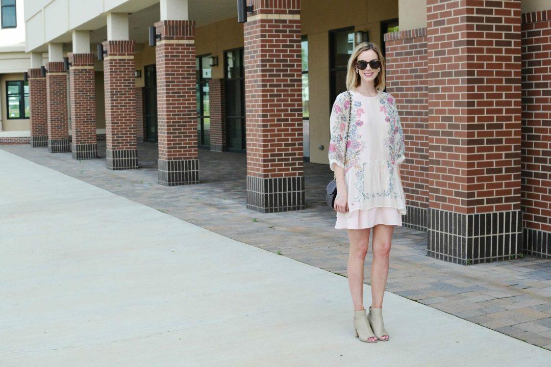 floral tunic, pink dress, tan booties, karen walkers
