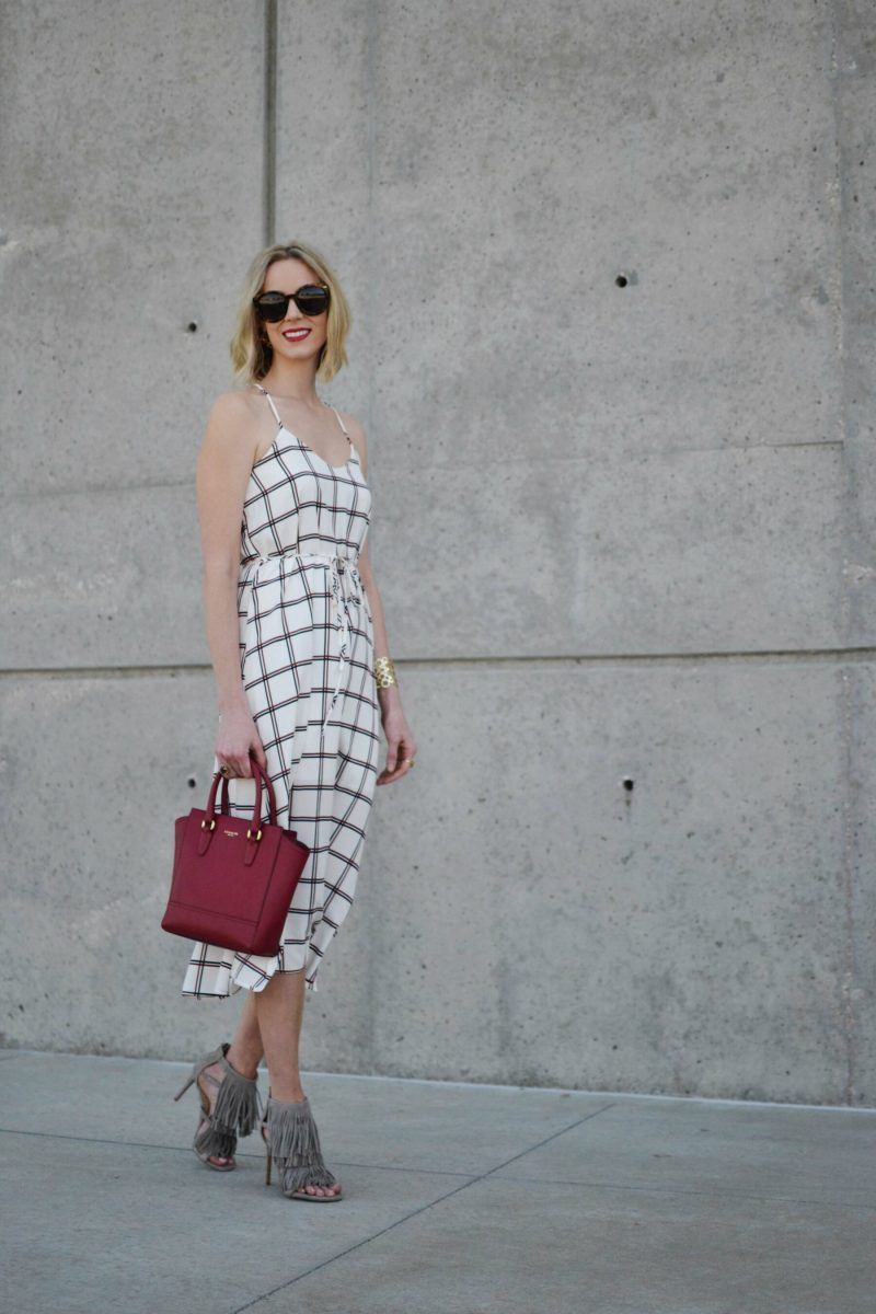 LuLu*s striped dress, karen walker sunglasses, Steve Madden fringe heels, red coach bag