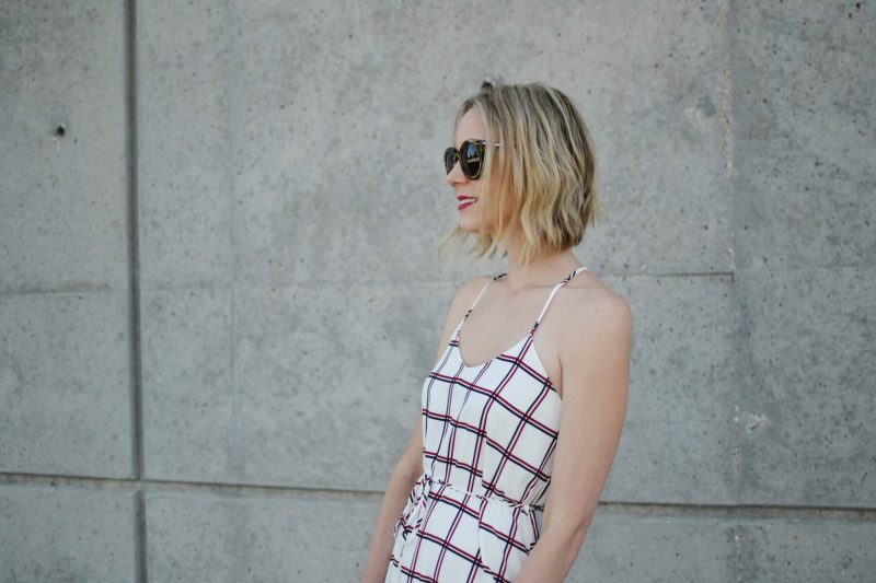 LuLu*s striped dress, karen walker sunglasses