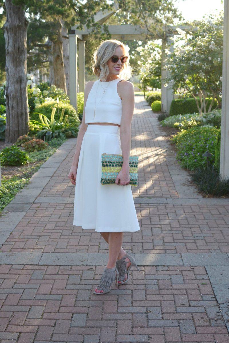LuLu*s white set, fringe heels, clutch, Raen sunglasses