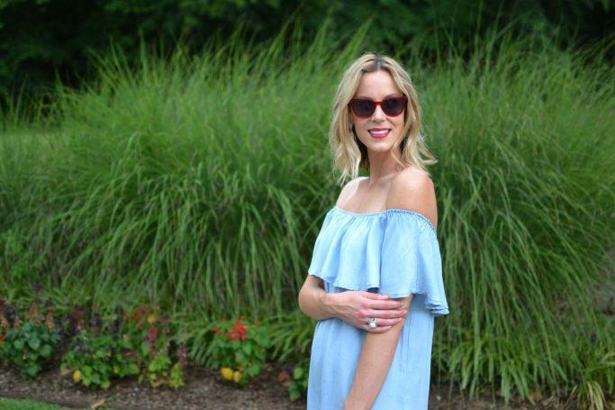 Oasap off the shoulder denim dress, red sunglasses 2