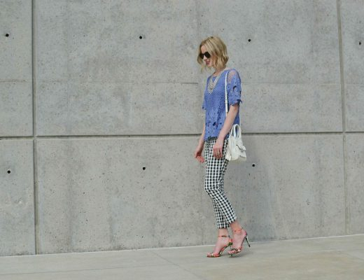 chicwish periwinkle lace top, gingham pants, floral heels, bib necklace