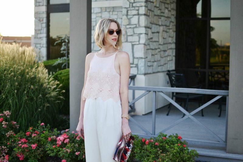 lookbook blush top, cream culottes, sole society clutch, raen sunglasses