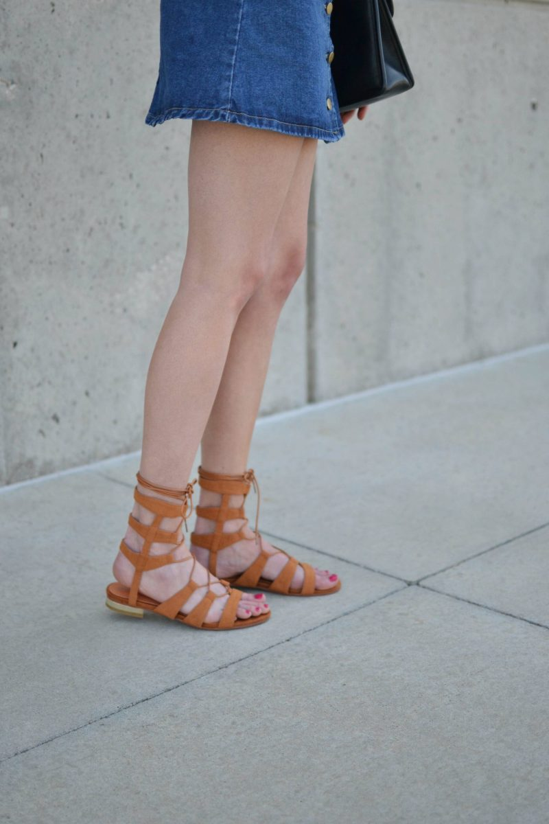 shein jean skirt, choies gladiator sandals