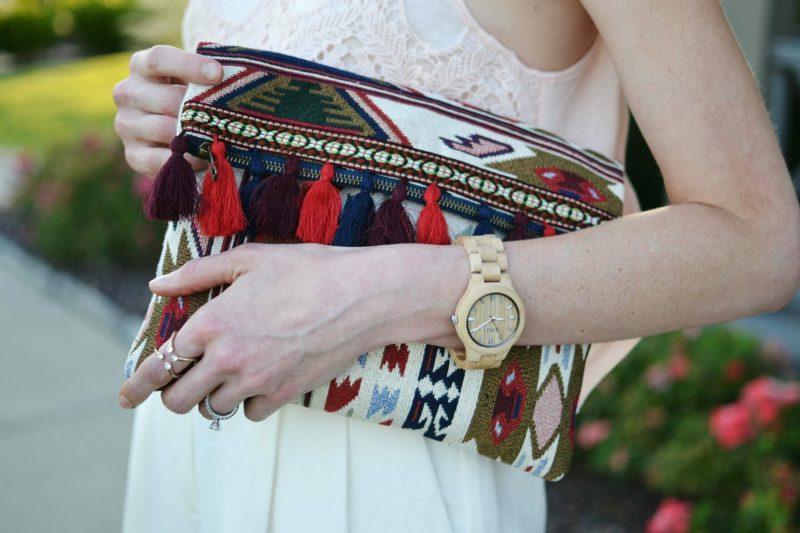 sole society tassel clutch, jord watch, purple peridot ring
