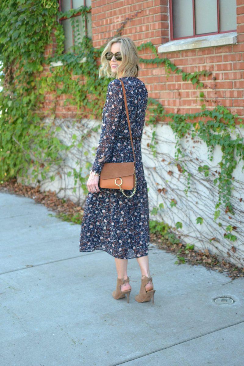 WAYF midi dress, karen walker sunglasses, chloe dupe bag, luky tie heeled booties
