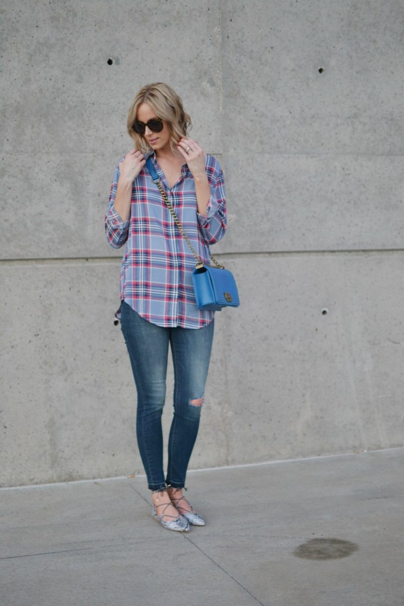 plaid shirt, jeans, blue bag, snakesking flats, karen walker sunglasses