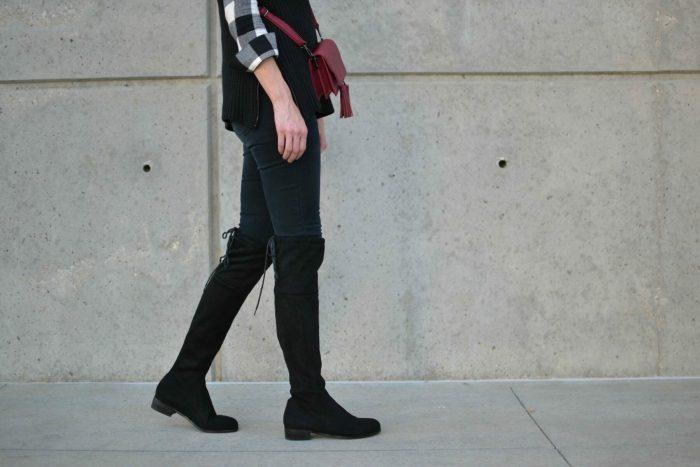 OTK boots, black jeans, plaid shirt, turtleneck sweater
