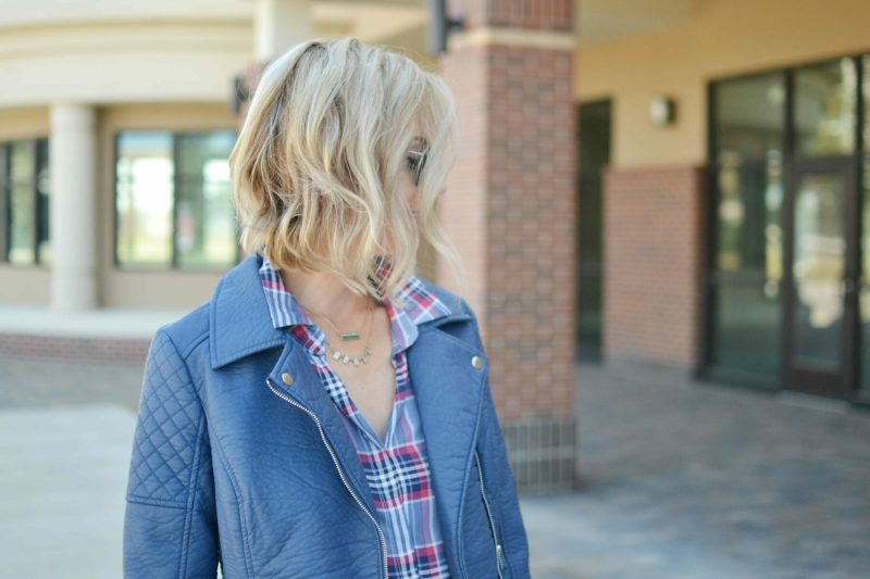 jeans, plaid shirt, leather jacket, ray-bans, chloe + isabel jewelry