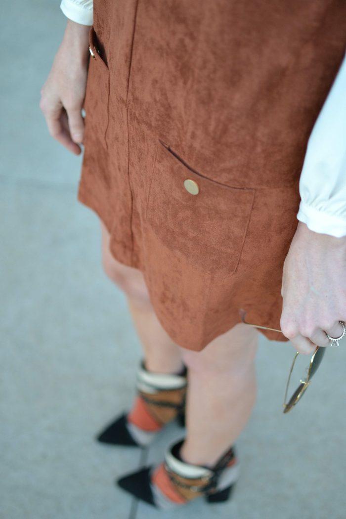 suede jumper, tie blouse, patchwork boots