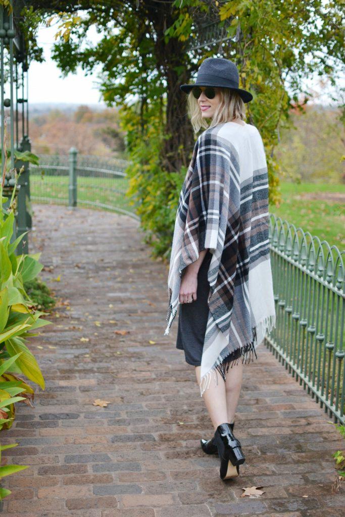 boohoo dress, poncho, boots, hat