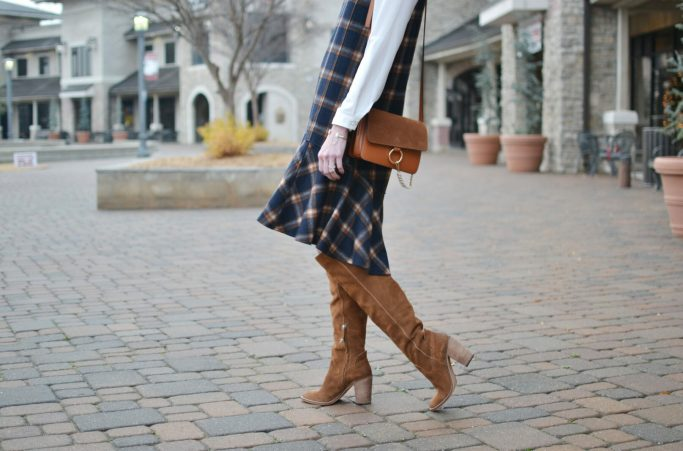Chicwish plaid shift dress, white blouse, Dolce Vita over the knee boots, chloe dupe bag
