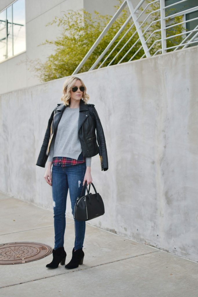 Goodnight Macaroon plaid layered sweater, distressed jeans, Sole Society black Alba boots, leather jacket