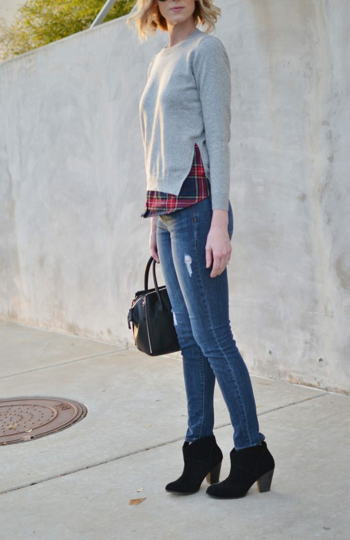 Goodnight Macaroon plaid layered sweater, distressed jeans, Sole Society boots, leather jacket, black bag