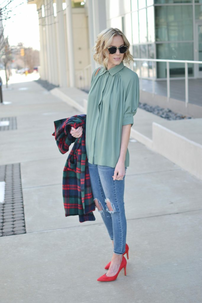 Isaac Mizrahi blouse and red heels, Oasap plaid coat, distressed jeans