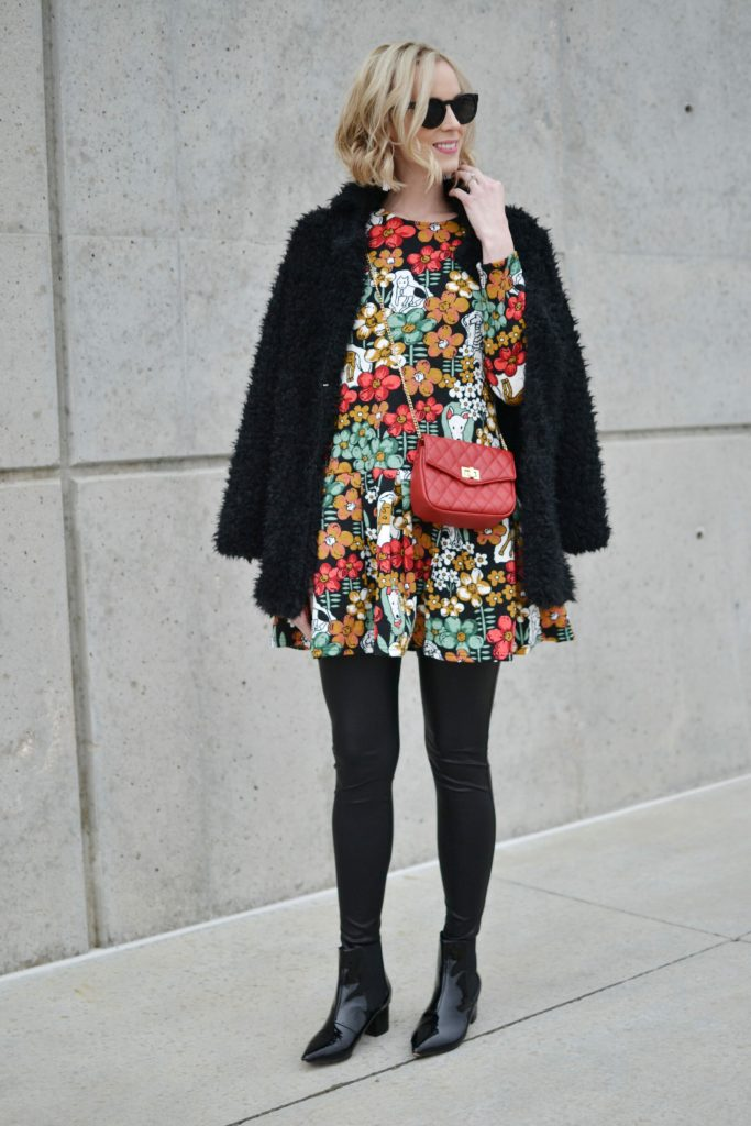 Oasap printed peplum dress and fuzzy coat, red bag, leather leggings, patent booties