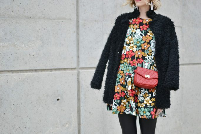 Oasap printed peplum dress and fuzzy coat, red bag