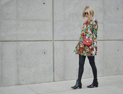 Oasap printed peplum dress, red bag, leather leggings, patent booties
