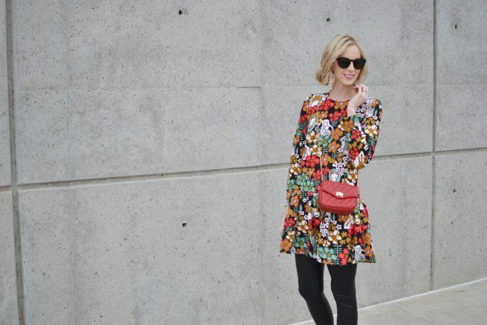 Oasap printed peplum dress, red bag, leather leggings