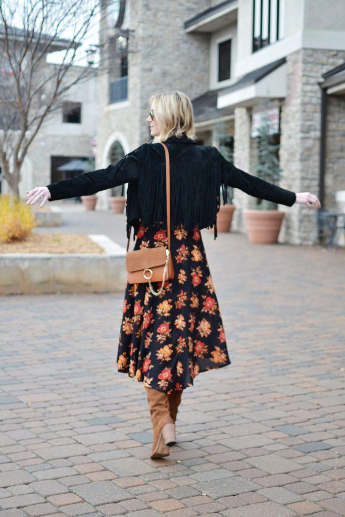 SheIn dark floral midi dress, Dolce Vita over the knee boots, black fringe jacket