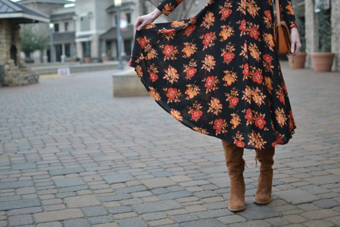 SheIn dark floral midi dress, Dolce Vita over the knee boots, chloe dupe bag