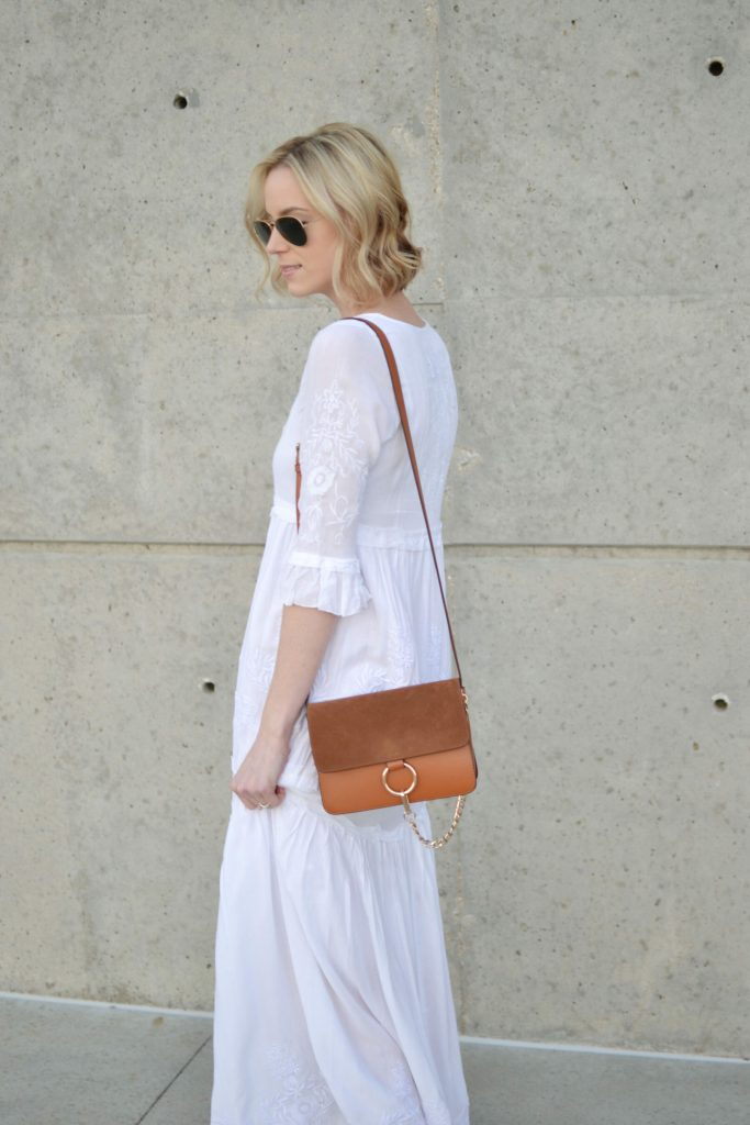 Oasap white boho maxi dress, chloe dupe bag, ray-bans
