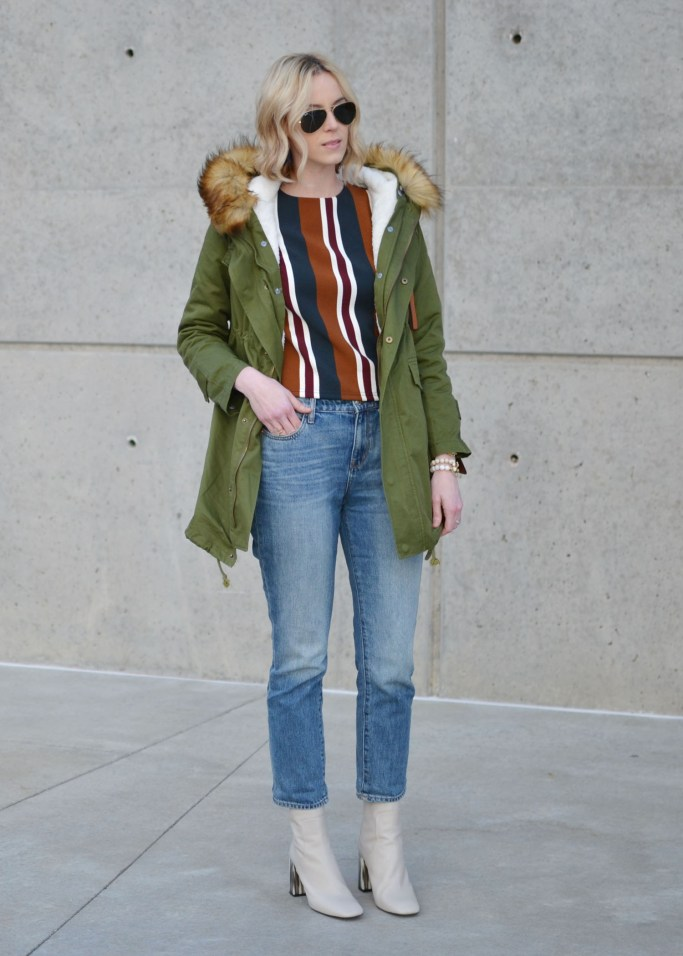 chicwish striped top, mom jeans, army green parka, topshop cream boots, ray-ban aviators, chloe dupe bag