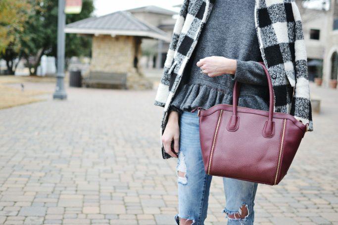 ruffle hem sweater, plaid coat, distressed jeans, Sole Society, burgundy tote bag