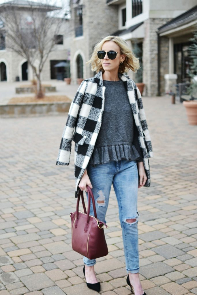 ruffle hem sweater, plaid coat, distressed jeans, Sole Society d'Orsay heels and burgundy tote bag