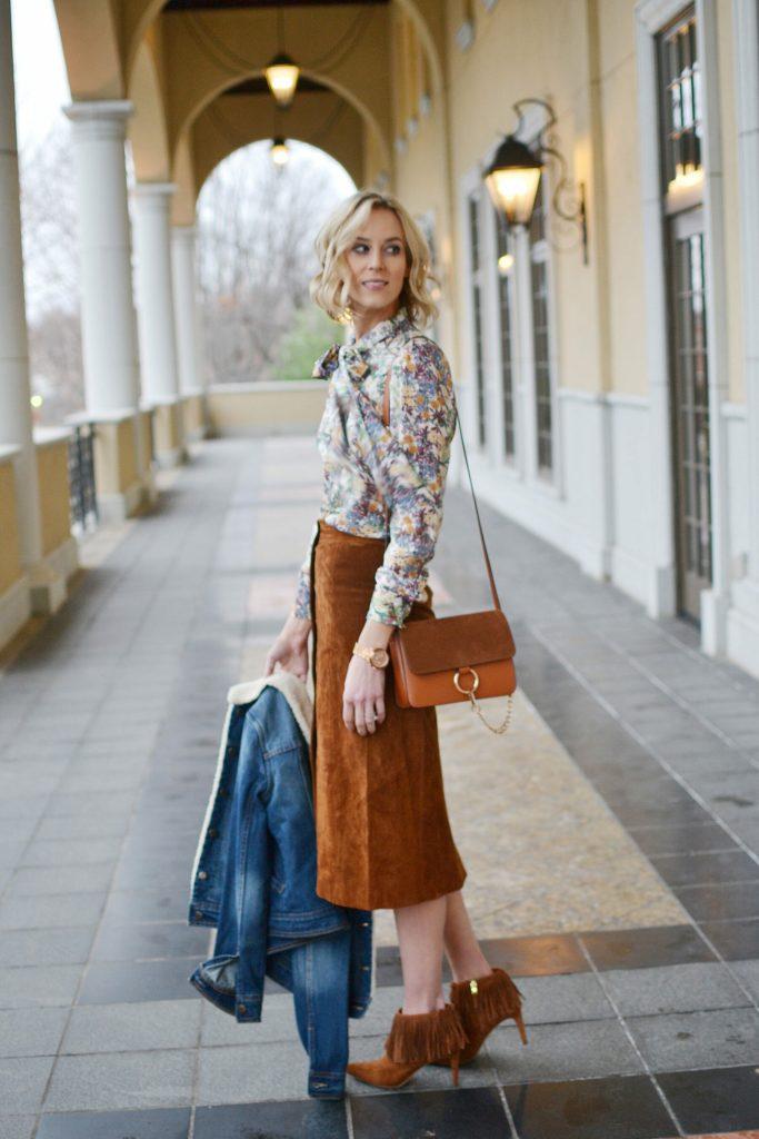 suede skirt, bow blouse, fringe boots, chloe dupe bag, shearling jean jacket