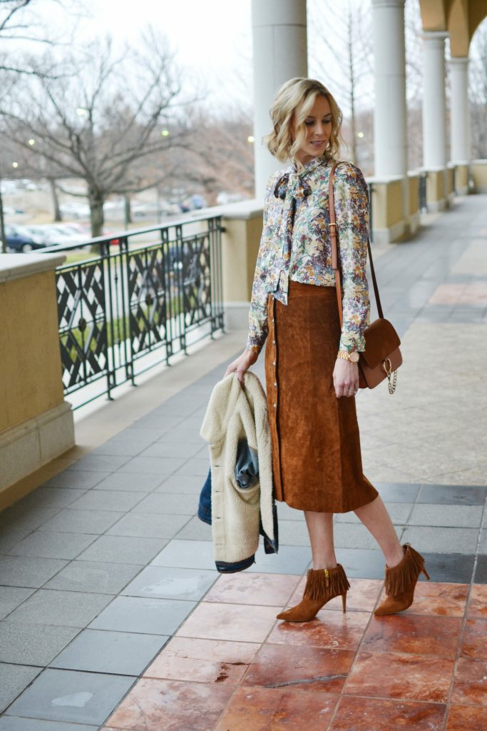suede skirt, bow blouse, fringe boots, shearling jean jacket, chloe dupe bag 1