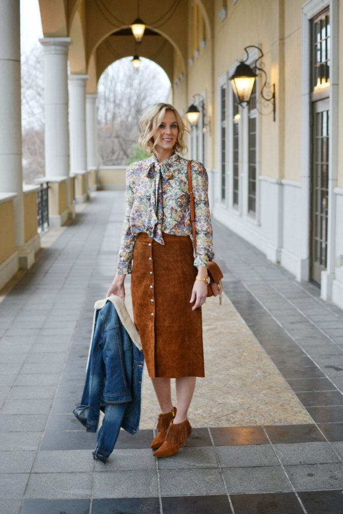 suede skirt, bow blouse, fringe boots, shearling jean jacket, chloe dupe bag