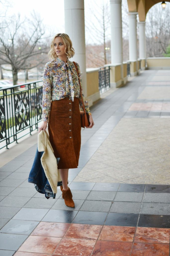 suede skirt, bow blouse, fringe boots, shearling jean jacket