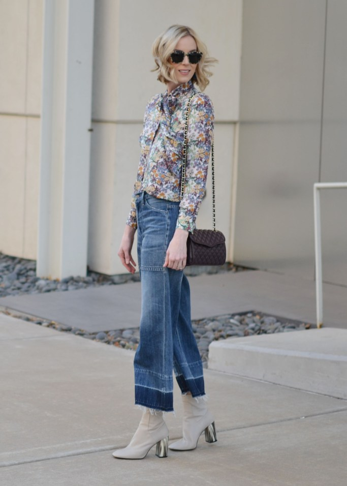 what shoes to wear with cropped jeans, culottes with boots, how to wear boots with cropped jeans