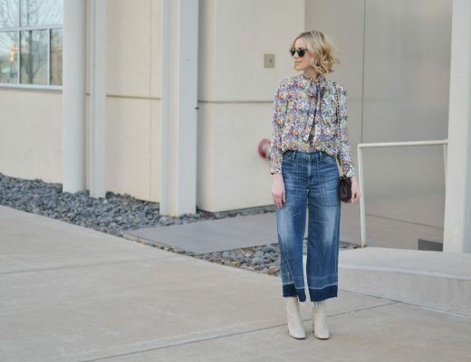 denim culottes, floral tie blouse, cream ankle boots