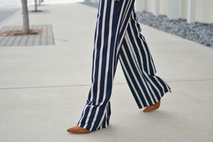 wide leg striped pants, suede boots
