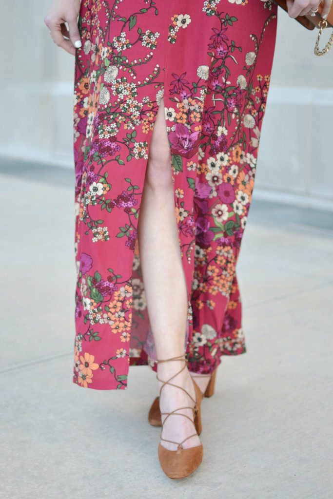 WAYF floral maxi dress, shoes